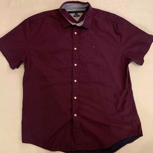 Tommy Hilfiger Mens Burgundy Button Down